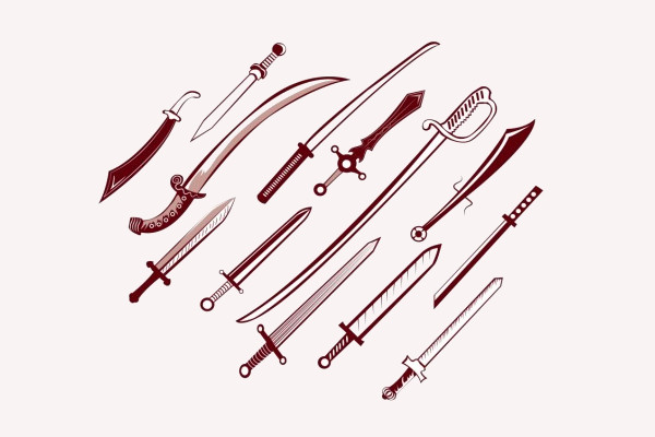 collection of swords vector