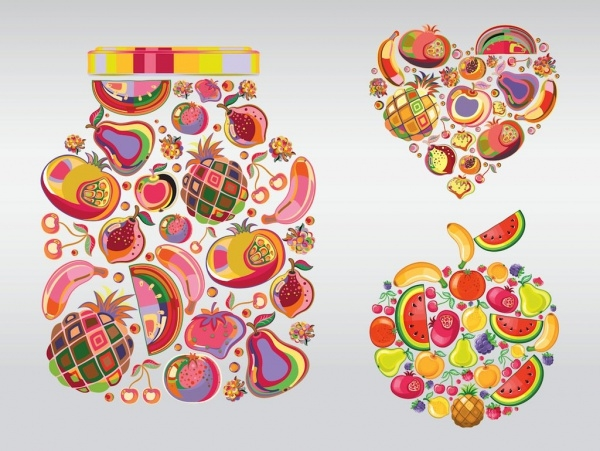 Colorful Fruit Shapes Illustration