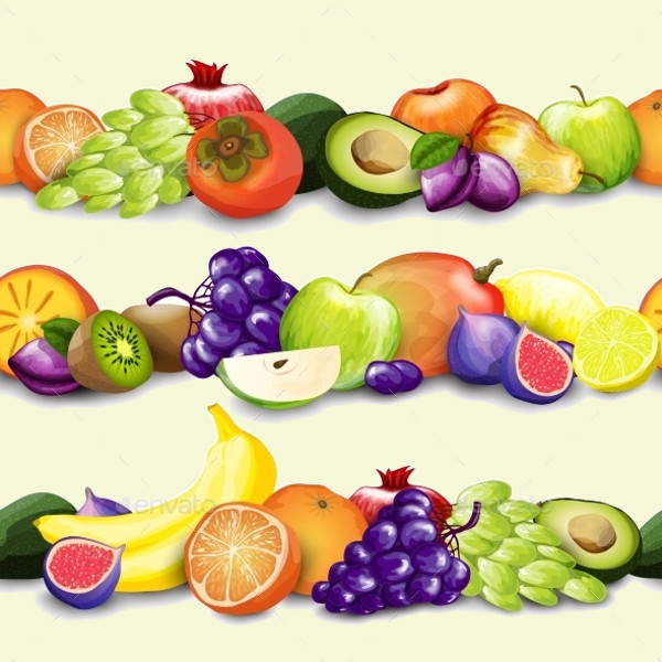 Colorful Fruits Borders Illustration