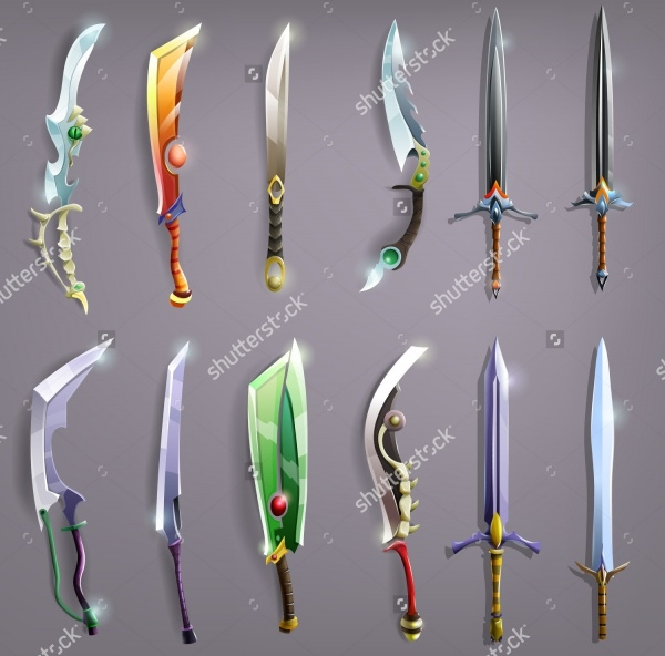 colorful tribal sword vectors set