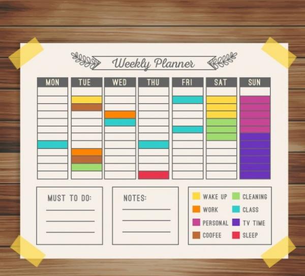 Colorful weekly calendar Desktop planner