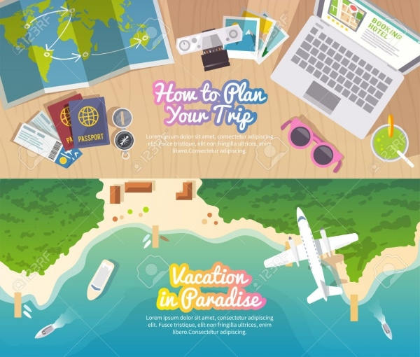 Colourful Travel Vector Flat Banner