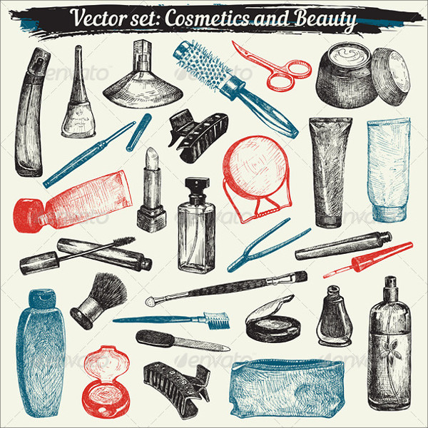 Cosmetics and Beauty Doodles Vector Set