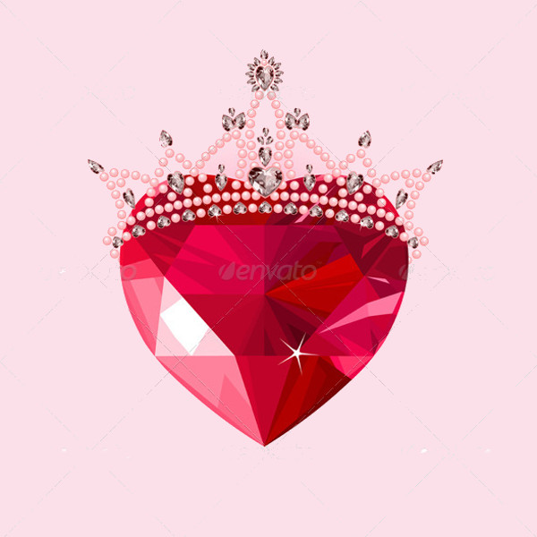 Crystal Heart with Crown Clip-art