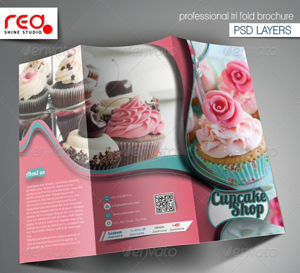 Cupcake & Bakery Shop Trifold Brochure