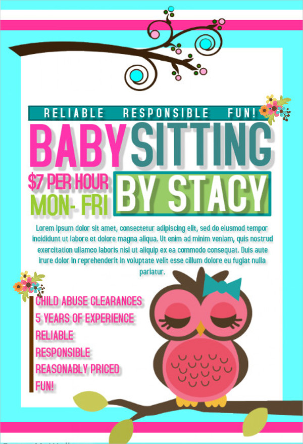Famous Babysitting Flyer Template Free Images Example
