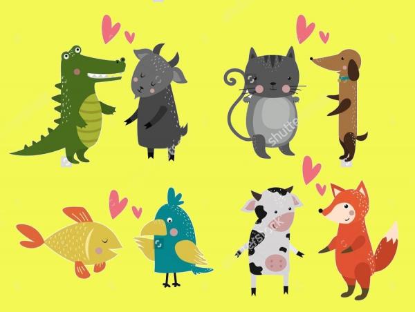 Cute Cartoon Animals Illustration