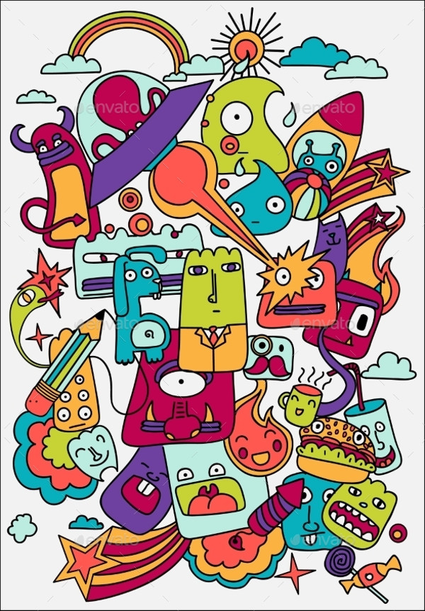 Cute Crazy Doodles Life Vector