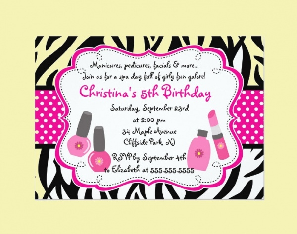 cute manicure spa party invitation