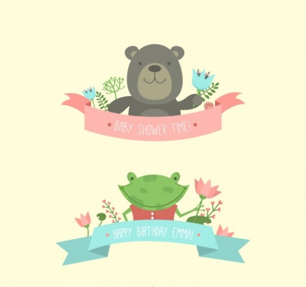 Cute animals for baby shower invite banner