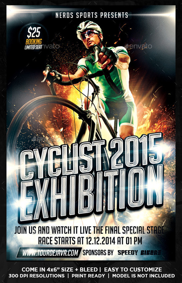 Cyclist Exhibition InDesign Flyer