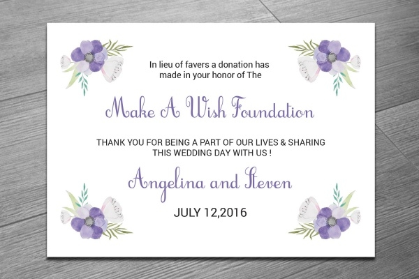 DIY Favor Donation Card Template