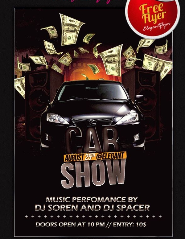 DJ Music Car Show Flyer Design