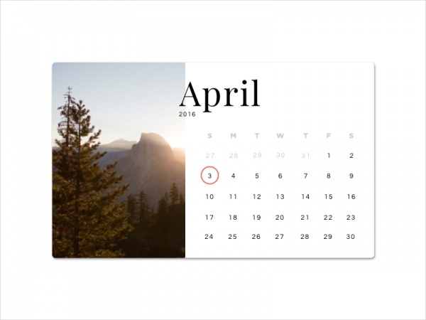 Daily UI Photo Calendar Design