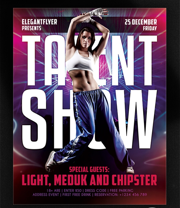 Dance Talent Show Flyer PSD