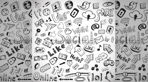 Decorative social doodles Vector