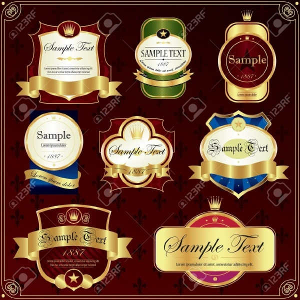 Detailed Ornate Various Colour Food Label