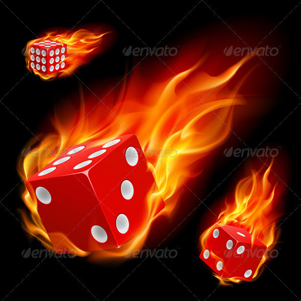 dice in fire illustration