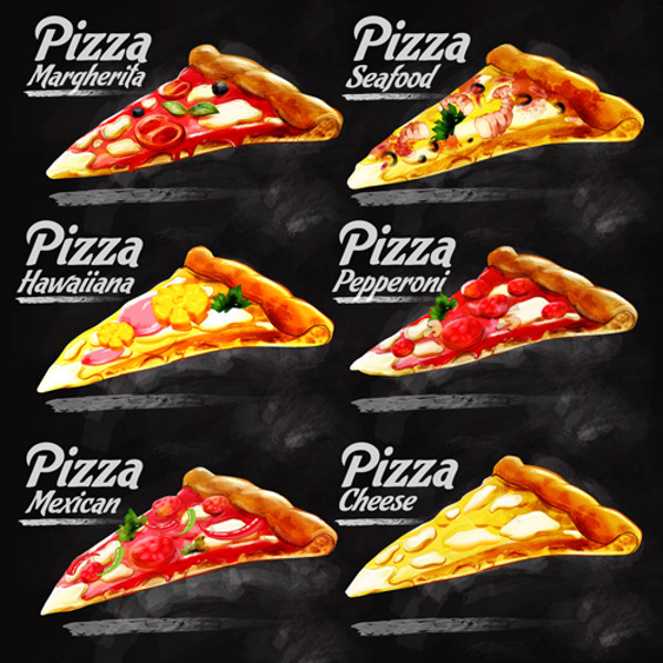 Different Pizzas Background Vector
