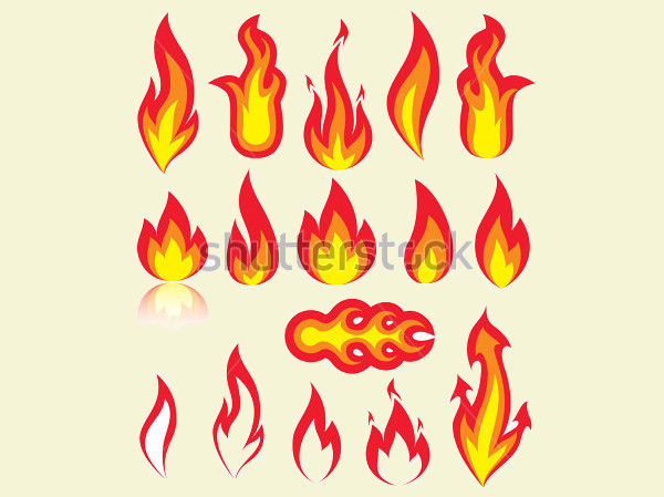 different versions of a fire illustration