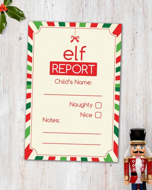 Digital Printable Elf Report Card