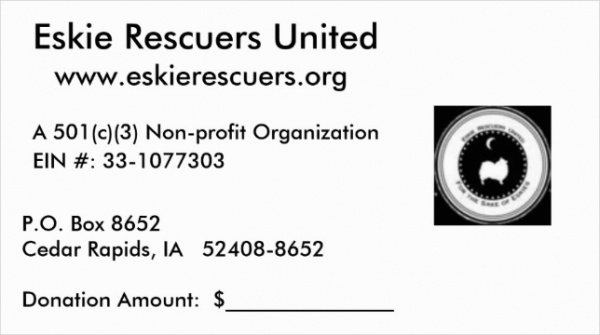 Donation Receipt Card Design