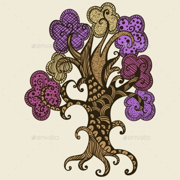 Doodle Style Tree Illustration