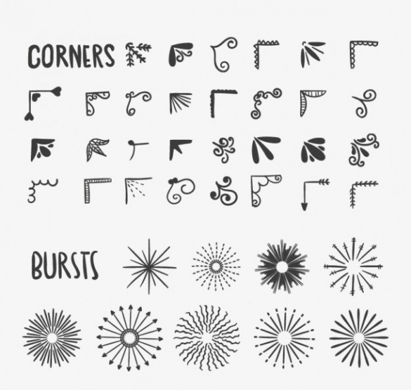 Drawn Corners and Bursts Free Vector