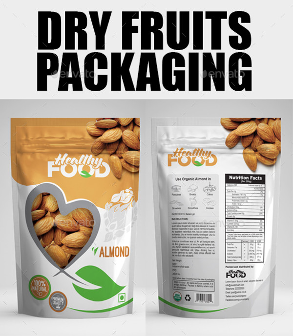 Dry Fruits Bag Packaging Template