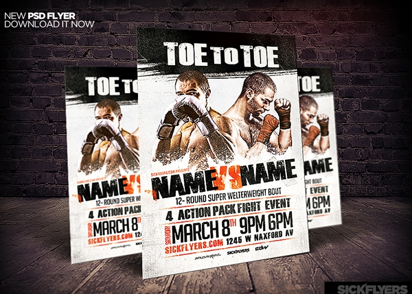 Editable Boxing Flyer Template PSD