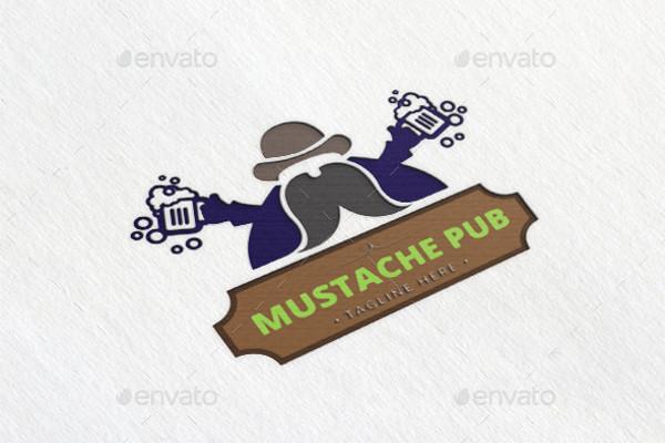 Editable Mustache Pub Logo