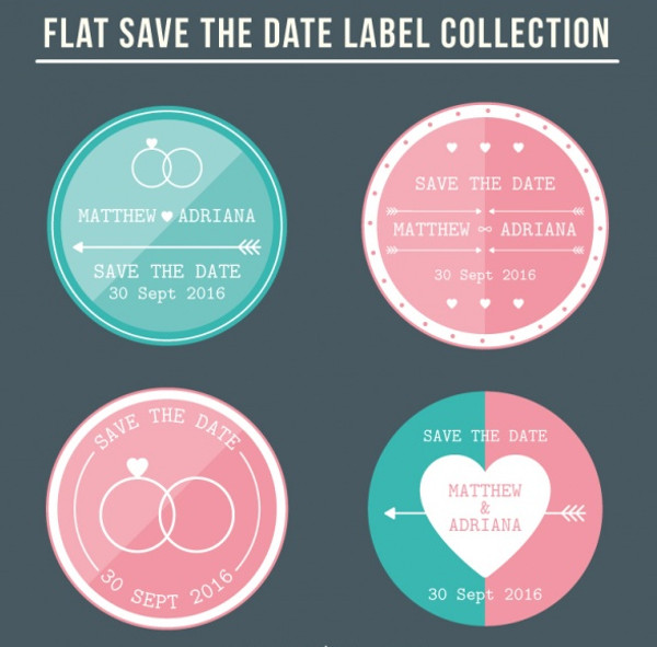 Editable wedding labels Free Vector