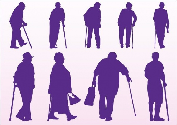 Elderly Disabled People Silhouettes