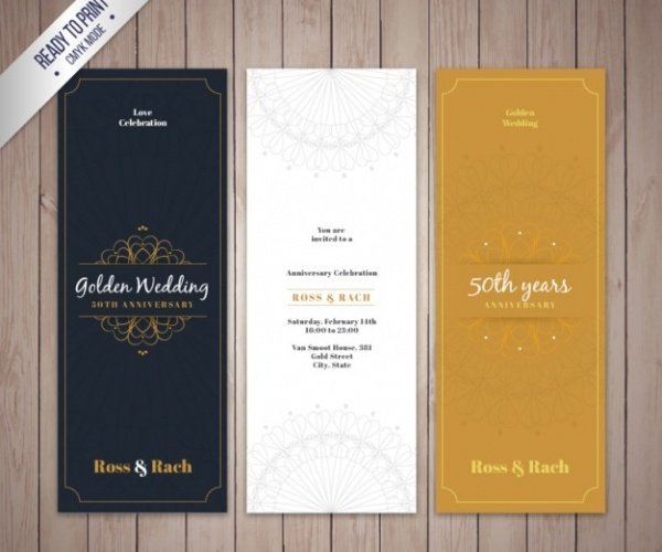 Elegant Golden Wedding Anniversary Invitation