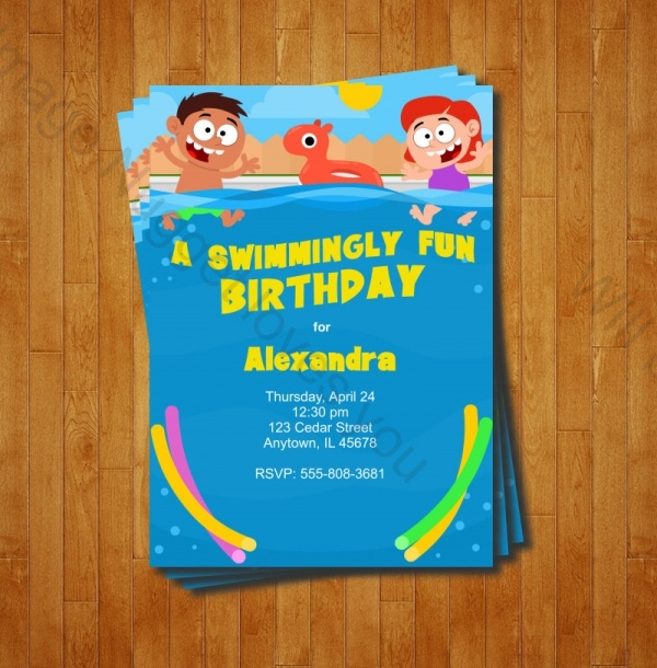 elegant swimming pool party invitation design