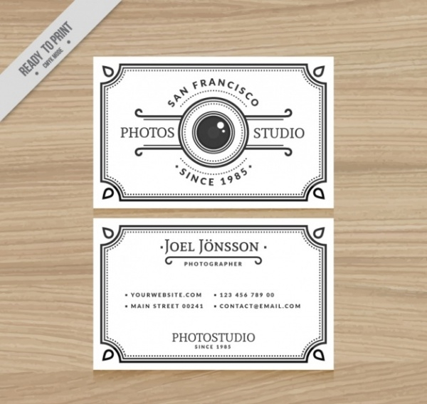 Elegant White Business Card for Photography