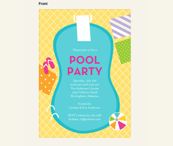 extraordinary swimming pool party invitation