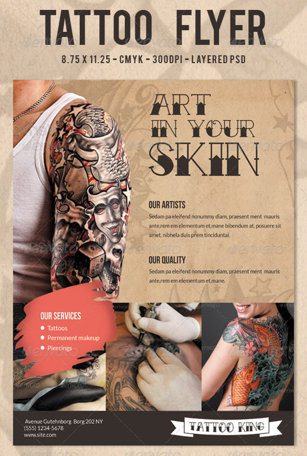20 tattoo flyer designs psd jpg ai illustrator download. Black Bedroom Furniture Sets. Home Design Ideas
