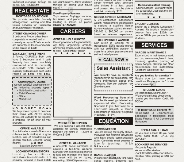 Fake Classified Newspaper Advertising