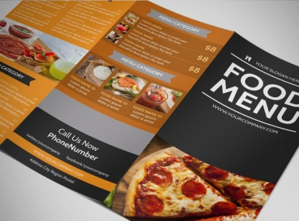 Famous Pizza Menu Tri-Fold Brochure Template