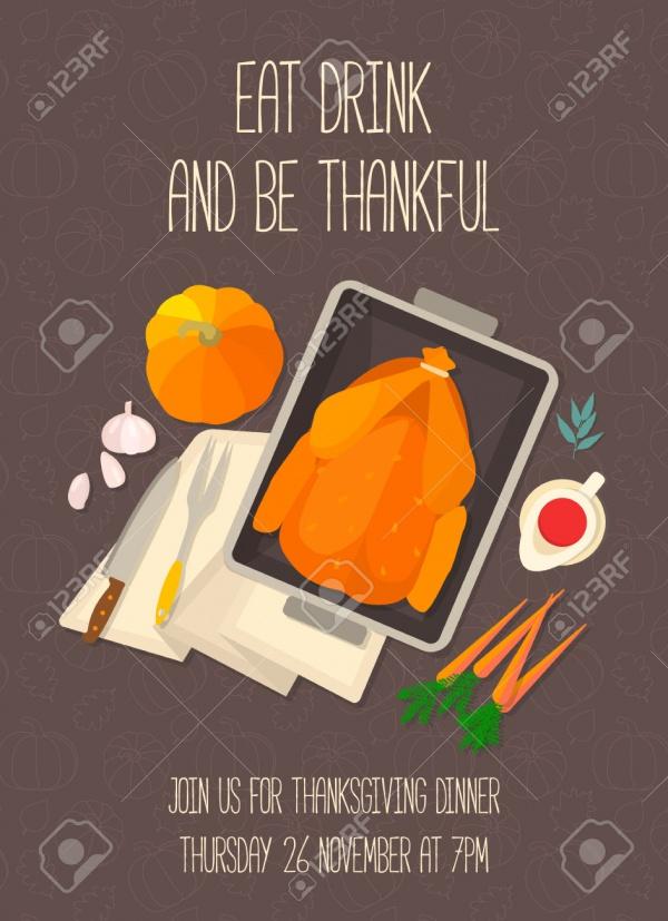 Flat Design Thanksgiving Dinner Invitation
