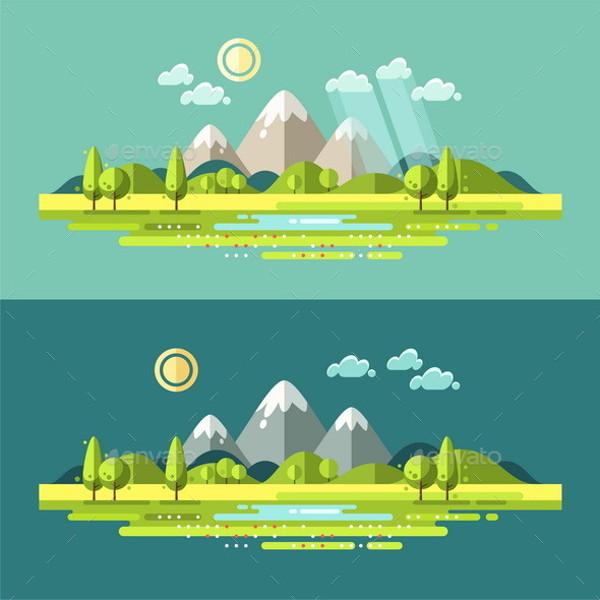 Flat Landscape Illustration