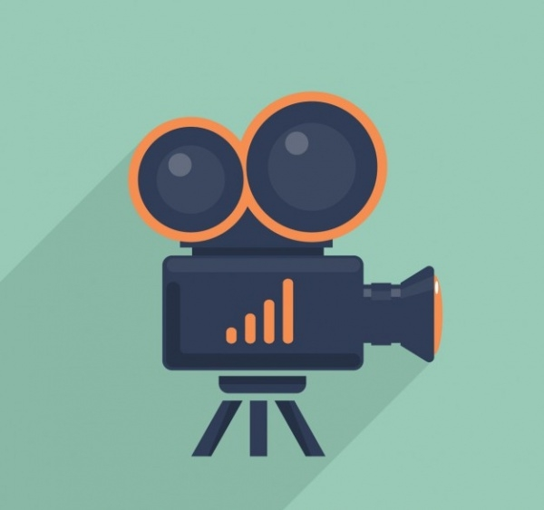 Flat design Video camera illustration