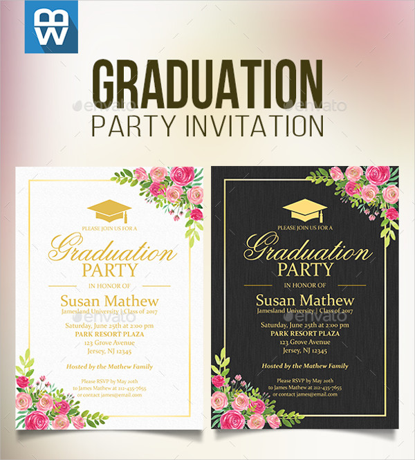 Floral Graduation Reception Party Invitation