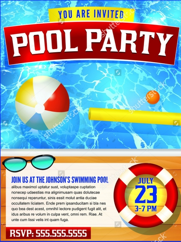 Lovely Flyer Template For A Pool Party Design