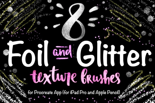Foil & Glitter Photoshop PSD Brushes