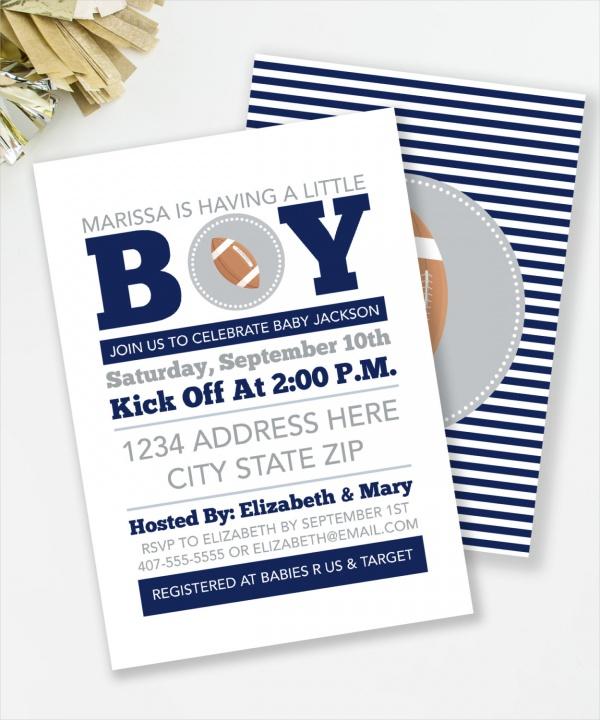 Football Baby Shower Invitation Design