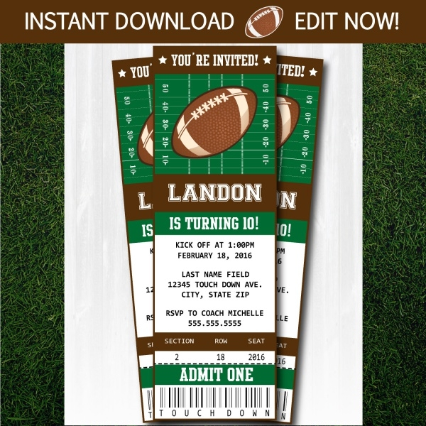 Football Party Supplies Invitation Design
