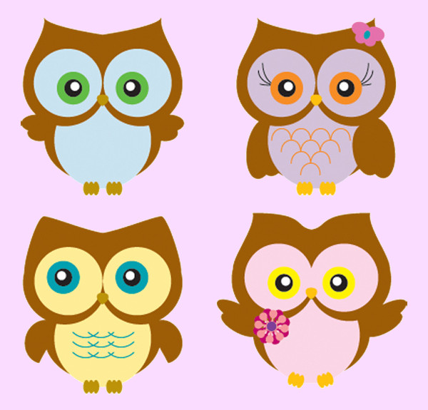 Four owls in different poses Vector
