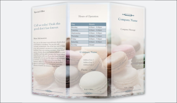 Free Cream Bakery Brochure Design